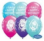 Balony Qualatex 11 cali Frozen Happy Birthday 1 szt Żurawinowy