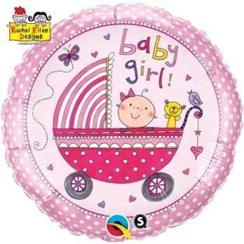 Balon foliowy 18'' Baby GIRL Wózek Qualatex