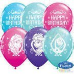 Balony Qualatex 11 cali Frozen Happy Birthday 1 szt Błękitny