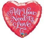 "Serce 18"" ALL YOU NEED IS LOVE czerwon  balon foliowy QUALATEX"