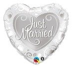"Serce 18"" SREBRNE Just Married balon foliowy QUALATEX"