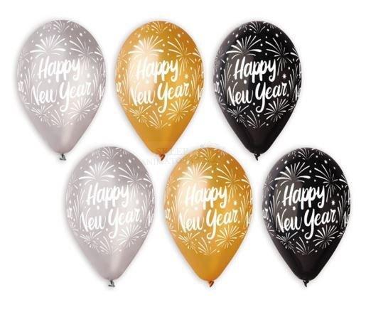 Balony Happy New Year Srebrne Czarne Złote 12 Cali 6szt Okazje