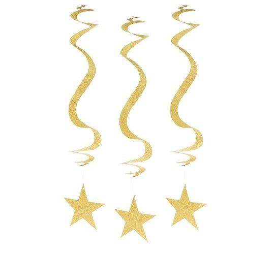 Dekoracja Wisząca Brokatowe Gwiazdy Złota 3 Szt Okazje